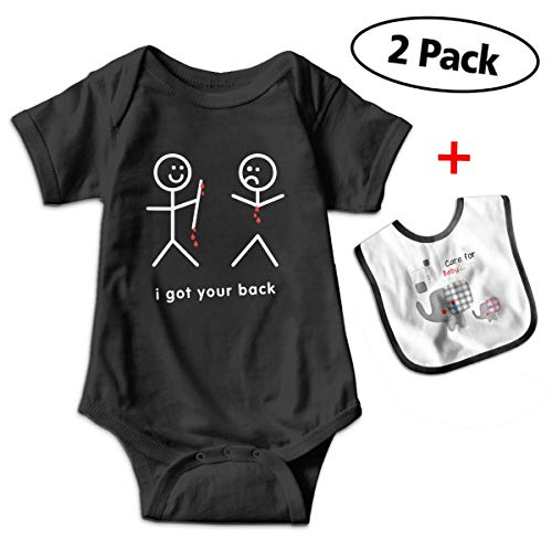CARRYFUTURE Funny Blood-Dripping-i-got-Your-Back Baby Climbing Clothes Bodysuit with Free Baby (Bubble Hem Balloon)