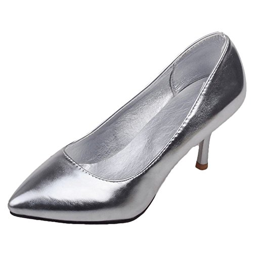 Mee Shoes Women's Chic High Heel Slip On Stiletto Court Shoes Silver f9XUlvYO