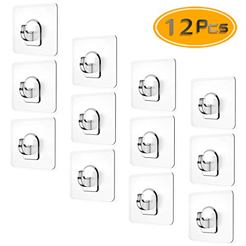 (BcPowr 12PCS Adhesive Wall Hooks (22lb Max), Transparent Plastic Seamless Heavy Duty Hooks for Bathroom Kitchen Nail Free Sticky Stainless Hooks No Trace No Scratch Waterproof and Oilproof.(U Type))