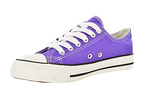 Toe Women's Lace Trainers Rubber 'LOW Canvas Purple Light TOP' Plimsole 6 Up 0Ix0wrqC
