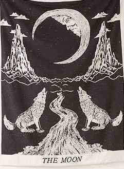 Schreiender Wolf Of The Moon Tapisserie-Wandbehang Boho-Stil, Wolfs-Entwurf, Ethno-Wandschmuck