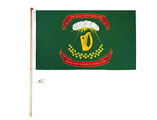 (American Wholesale Superstore 3x5 3'x5' 69th Regiment Irish Brigade Polyester Flag with 5' (Foot) Flag Pole Kit with Wall Mount Bracket & Screws (Imported))