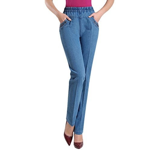 Zhhlinyuan Chic la Mode Femme Plus Size High Waisted Pantalon Stretch Ladies Trousers Elastic Loose Straight Jeans Skinny Light Blue
