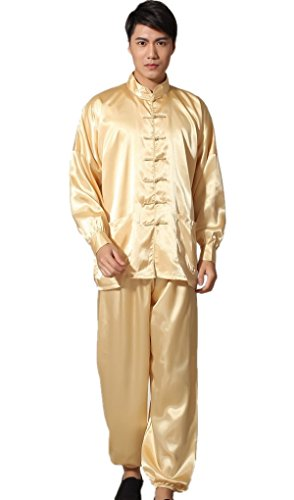 Shanghai Story Men's Chinese Wushu Suit Kung Fu Suit Tai Chi Uniform L Gold