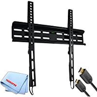 Tilting Ultra Slim Flat Screen TV Wall Mount for 23- 56 TVs + Gold Plated 6 Foot HDMI Cable + Tronixpro Microfiber Cloth