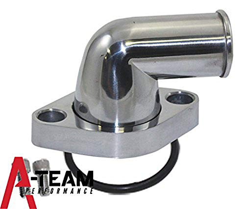A-Team Performance 90° SWIVEL POLISHED WATER NECK THERMOSTAT HOUSING COMPATIBLE WITH SBC & BBC Chevy Engines 283 302 305 327 350 383 396 427 454 502
