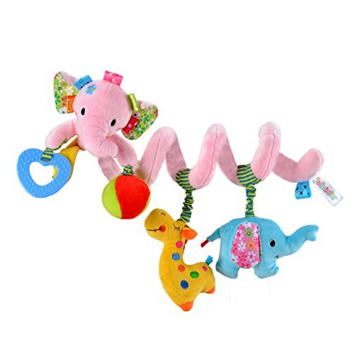 Gimilife TY Multi-function Bedroom Decoration Infant Baby Activity Spiral Bed & Stroller Toy & Travel Activity Toy (Pink Elephant) (Around Twin Stroller Wrap)