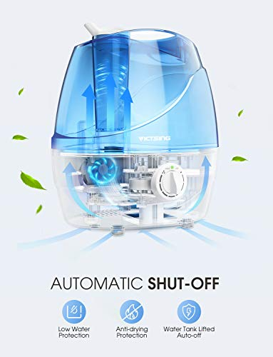 VicTsing Cool Mist Humidifier, Ultrasonic Humidifiers for Bedroom, Premium Humidifying Unit with Whisper-Quiet Operation, Auto Shut-Off, 12-24 Hours Working Time (BPA-Free)