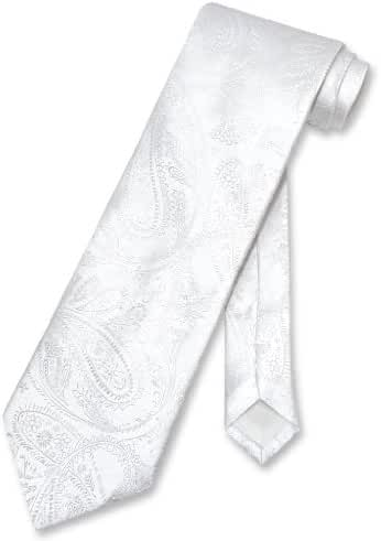Vesuvio Napoli NeckTie WHITE Color Paisley Design Men's Neck Tie
