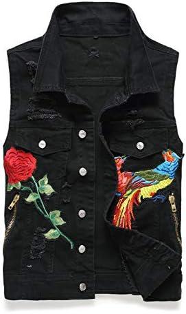 カジュアルなベストメンズベストノースリーブのジーンズジャケットメンズデニムジャケットデニムはデニムジャケットを破壊しました