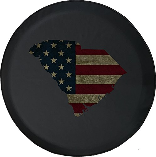 556 Gear South Carolina -Distressed American Flag Jeep RV Spare Tire Cover Black 33 in