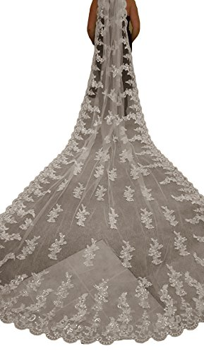 Newdeve 4M 1T Wedding Veils Cathedral Length Lace With Free Comb (White) by New Deve