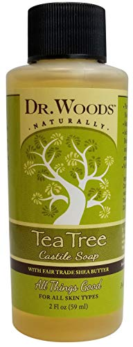 Dr. Woods Travel Size Tea Tree Castile Soap with Shea Butter, 2 Ounce