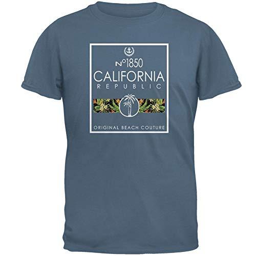 Floral Palm Tree Beach Couture California Republic Mens T Shirt Indigo Blue LG (Indigo Beach Palm)