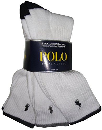 Polo Ralph Lauren Cotton Crew Socks 3-Pack, One Size, White Assorted