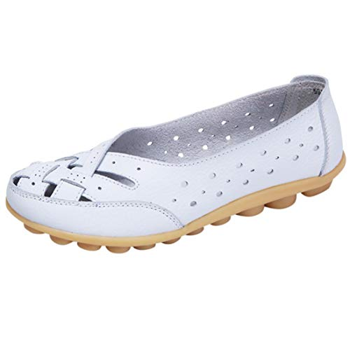 Women Shoes,Boomboom Soft Lady Flats Sandal Leather Ankle Casual Slipper Single Shoes White US 7