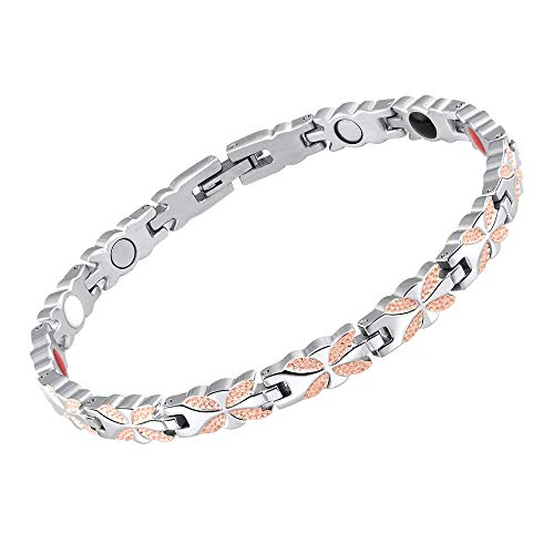 Magnetic Therapy Bracelet for Women 4 Element Stainless Steel Health Wristband Silver and Rose Gold Adjustable for Arthritis and Carpal Tunnel Pain Relief with 3000 Gauss Magnets for Health Care