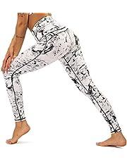 Yavero Sporthose Damen High Waist Blinkdicht Sport Leggings Elastische Tummy Control Yogahose Lange Laufhose mit Taschen