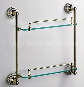 bathroom accessories solid brass shower toilet gold victorian double glass shelf