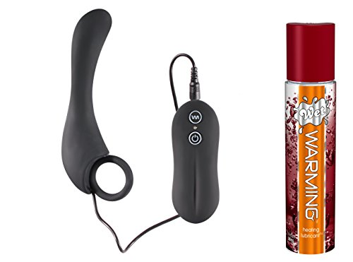 Anal Vibrator with Separate Controller Bundled with 4PACK AAA Batteries and 1 fl. Oz. Wet Warming Gel Personal Lubricant: 10 Mode Vibration - Battery Operated (Included in Bundle)