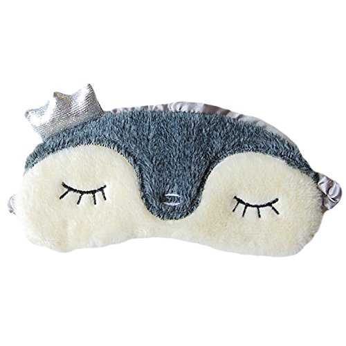 ACTLATI Cute Crown Sleeping Eye Mask Cartoon Animal Breathable Blindfold Penguin Elastic Sleep Aid Cover
