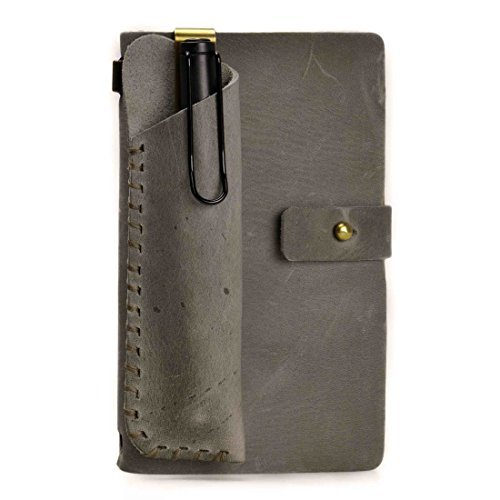 ZLYC Vintage Handmade Refillable Leather Travelers Journals Diary Notepad Notebook with Pencil Case, Silver