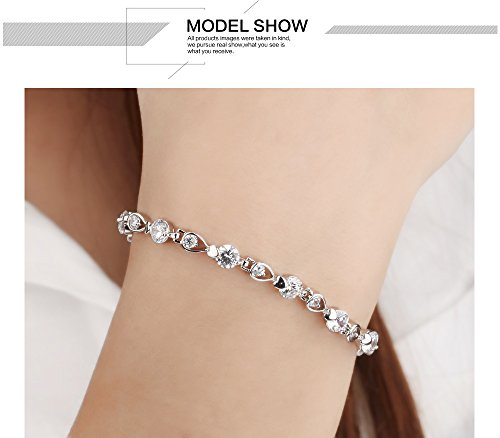 Stainless Steel Swarovski Elements Cubic Zirconia Bracelet with Extended Chain for Women 6.8+1.2'' by LOHOME (Image #5)