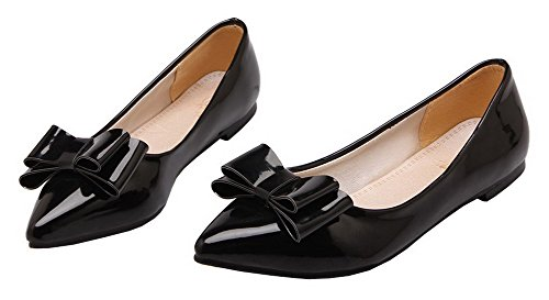 Low On Black Women's Shoes Closed Leather Patent Toe WeenFashion Pumps Pull Heels CnAqaRtw8x