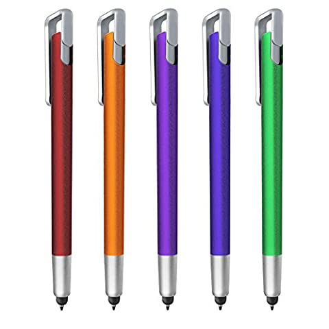 Stylus pen, F-color 2 in 1 Ultralight Stylus & Ballpoint for Touch Screens, iPhone 7 6s 6s Plus 6 6 Plus 5 5s 5c, iPad Pro,iPod, Android,Samsung, HTC & more Orange Red Blue Green Purple, 5 (Pen For Touch Screen Green)