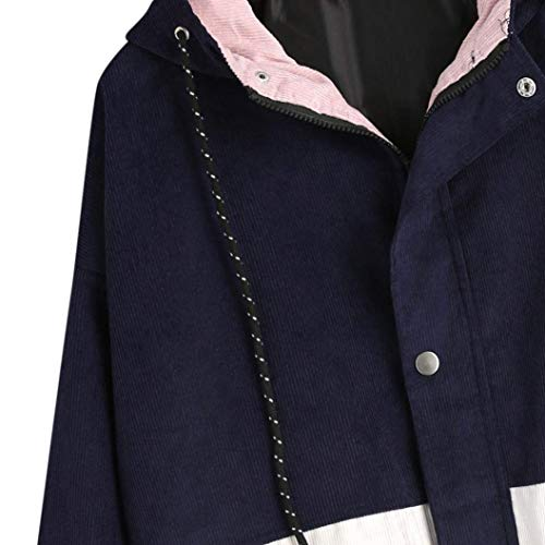 Larga Capucha Otoño Corto Oscuro De Color Primavera Con Elegante Joven Azul Manga Abrigos Chaqueta Anchas Casual Grandes Contraste Chaquetas Tallas Ropa Cute Mujer Capa Moda vC5q4wa