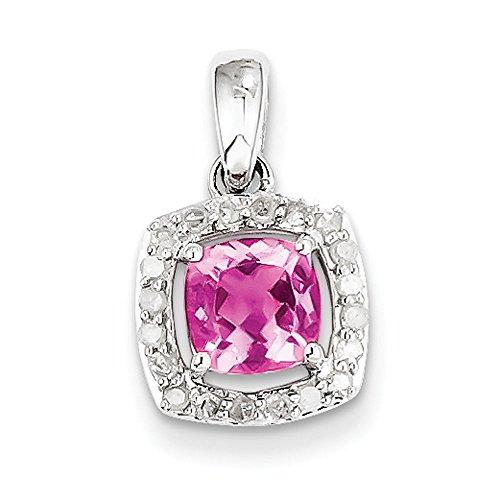 Argent fin 925/1000 avec Tourmaline rose et diamant-Pendentif carré JewelryWeb