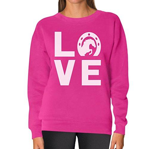 TeeStars - Love Horses - Animal Lover Rearing Horse - Horseshoe Women Sweatshirt Small Pink