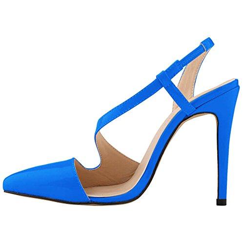 Fereshte Femmes Chaussures À Talons Hauts Robe En Peau De Serpent Pompes Sandales Couleur Bonbon Bleu Saphir