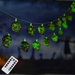 30 LED Halloween Skull String Lights, 16.4ft 8 Modes Fairy Lights with Remote, Waterproof Battery Operated Halloween…