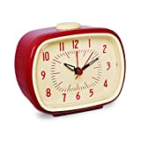 Slash Vintage Retro Old Fashioned Quiet Non-ticking Sweep Second Hand, Quartz Analog Desk Clock, Battery Operated, Loud Alarm (Scarlet Red)