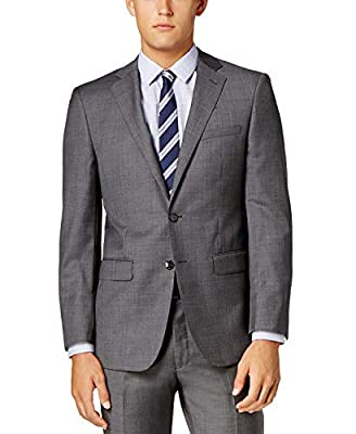 Calvin Klein Slim Fit 100% Wool 2 Piece Men's Set Suit Sharkskin Pattern Grey Retail $650