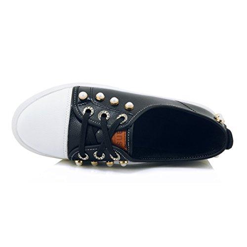 YE Damen Flache Bequem Schnürhalbschuhe mit Perlen Flach Schuhe Schwarz