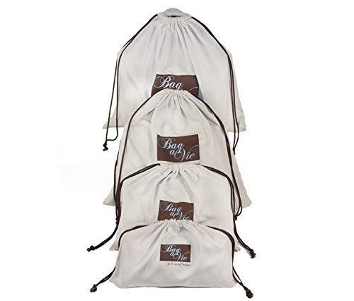 Bag-a-Vie Herringbone Canvas Dustbags for your Chanel Hermes Prada Purse Handbags - 4 Pack