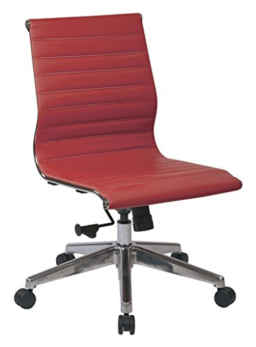Office Star Mid Back Eco Leather Seat and Back with Polished Aluminum Frame and Base Armless Office Chair, Red