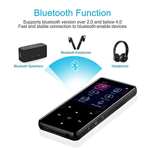 MP3 Player,PELDA Bluetooth MP3 Player,16GB MP3 Player with 2.4'' Large Screen, HiFi Lossless Music Player with Speaker,Touch Buttons,FM Radio/Recorder,16GB Come with a Wired Headphone by Pelda (Image #1)