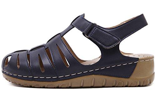 Sandalias de Tejido para Mujer Cuña Velcro Zapatos De BIGTREE Sole suave Sandalias de Fisherman Azul
