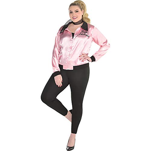 Costumes USA Grease Greased Lightning Costume for Women, Plus Size, Includes a Pink Satin Jacket, Pants, and a Scarf ()