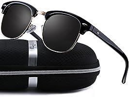 Clubmaster Sunglasses for Men Women - wearpro Retro Semi-Rimless Polarized Sun Glasses WP1006