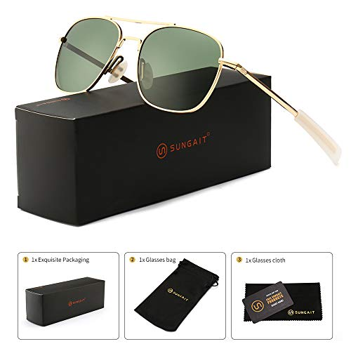 SUNGAIT Men's Military Style Polarized Pilot Aviator Sunglasses - Bayonet Temples (Gold Frame/Green Lens, 55) New A285JKLV ()