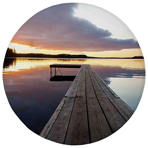 WEWELA Round Rug Mat Carpet,Art,View of Sunset Over an Old Oak Deck Pier and Calm Water of The Lake Horizon Serenity,Multi,Flannel Microfiber Non-Slip Soft Absorbent,for Kitchen Floor Bathroom