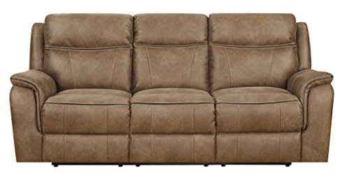 "MorriSofa Cameron 3 Seat Reclining Sofa with Dual Power Headrests, 85.75"" x 39"" x 40"", Brown"
