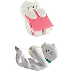 Cat Pack Post-it Cat Figure Pop-up Note Dispenser and Scotch Kitty Dispenser with Scotch Magic Tape