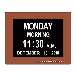 Clear Clock [Newest Version] Extra Large Digital Memory Loss Calendar Day Clock with Optional Day Cycle + Alarm Perfect for Seniors + Impaired Vision Dementia Clock (1 Pack Brown)