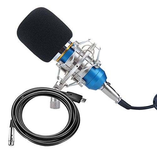 MagiDeal Condenser Microphone Mic Sound Studio Recording Equipment Audio Cable Combo by MagiDeal