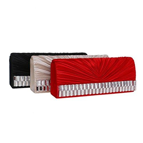Red Paket Seide Kleid Abend Party Abendtasche Damen Clutch Abend Aprikose FLY Farbe vxdA8FM